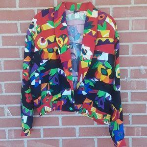 Vintage 80's bright funky floral Blazer size 14